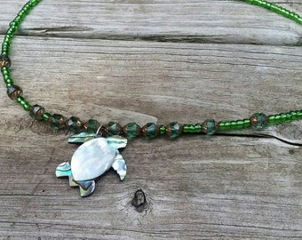 Abalone Turtle Pendant with Glass Beaded Necklace