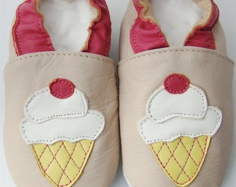 Soft Leather Baby Shoes 0-6 Months Ice cream