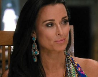 Green Gold Tone Chandelier Earrings as seen on Kyle Richards