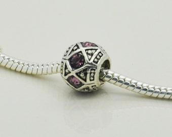 Pink Rhinestone Bead, European Bracelet Beads, Bracelet Bead.