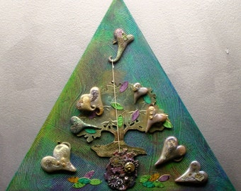 "Love Grows - 18"" Mixed Media Triangle Canvas"