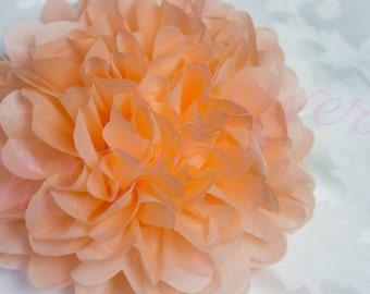 PEACH/ 1 tissue paper Pompoms,single pompom,nursery room decoration, baby shower,wedding,birthday,engagement,bridal shower,DIY, centerpieces