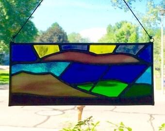 "Stained glass sun catcher landscape mountain rain storm 8.25""X3.5"""