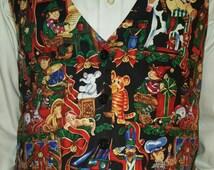 Ugly Christmas Vest! Men's Women's Unisex Holiday Vest with Elf, Teddy Bear, Wreath, Nutcracker details.