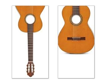 Guitar Cornhole Board Decals (Brown & White)