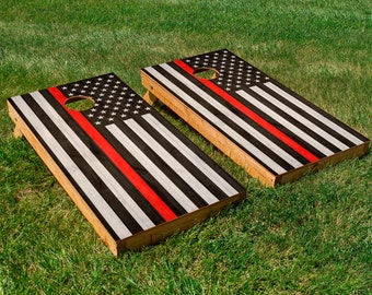 Fire Department American Flag Cornhole Board Set with Bean Bags