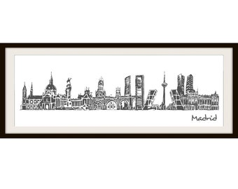 City sketch of Madrid Poster (Not Framed)