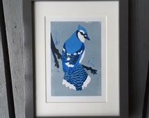 Blue Jay bird linocut print - hand-pulled, limited edition