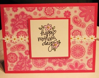Mother's Day Card, handmade card, Happy Mother's Day, card for mom, pink card, MADE TO ORDER