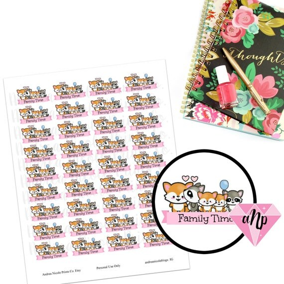Printable Kawaii Family Time Planner Stickers MAMBI Plum Planner Erin ...