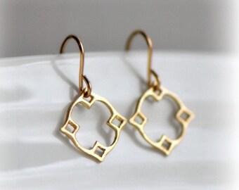 Moroccan Dangle Earrings in Gold, Gold Dangle Earrings, Gift for Her, Tiny Gold Earrings, Modern Earrings, Bohemian Earrings by Blissaria