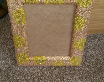 Pink Crystallised Picture Frame with Yellow Spots