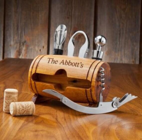 Personalized Wine Barrel Accessory Set