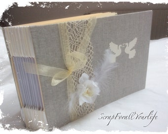 """Guestbook lin very romantic wedding """"so chic"""" white and ivory"""