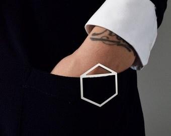 Silver plated geometric hexagon brooch