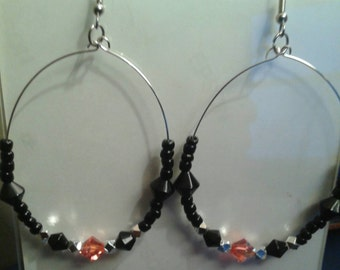 Handmade Bllack Hoop Earrings, Swarovski Crystal Earrings