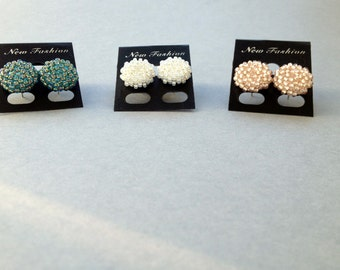 Handmade beaded stud earrings
