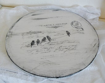 Large turntable wooden shabby