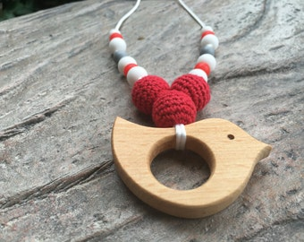 Teething Necklace, Maple Wood Bird Teether, Red, White, & Grey