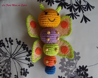 Butterfly multicolored crochet cotton and beads