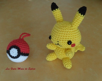 Pikachu and his Pokeball crochet