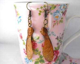 Maple seed earrings nature earrings nature jewelry forest earrings forest jewelry woodland earrings vintage earrings botanical earrings