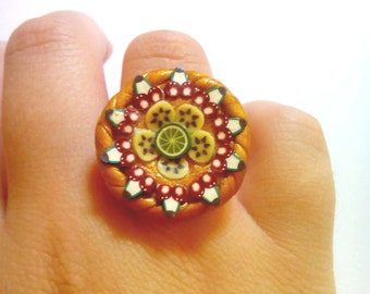ring fimo polymer clay fruit tart golden color ending tracking