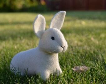 Needle Felted White Bunny Rabbit OOAK