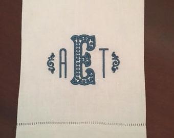 Anne Monogrammed Linen Towel