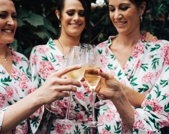 Bridesmaids Robes / Floral / Dressing gown / Bridal / Lingerie / Nighty / Negligee / Getting ready / Kimono / gifts / honeymoon