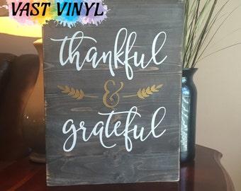 Thankful and Grateful, Handmade Fall Decor, Thanksgiving Decor, Wood Decor, Wood Sign, Fall Decor