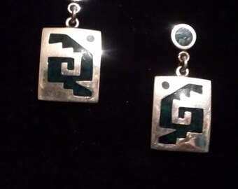 Silver Turquoise inlaid Earrings