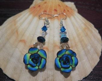 Big blue flower earrings with Swarovski Crystals