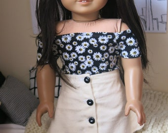 Daisy Off the Shoulder Top for American Girl 18inch Doll