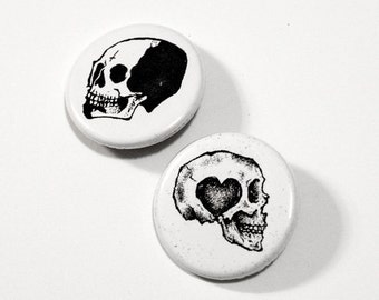 ON SALE Skull button pin SET // Pinback buttons- Badges - button pin // Free shipping!