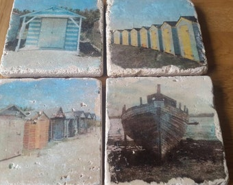 Coastal inspired travertine tile coasters.