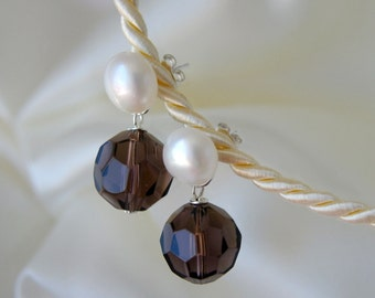 Freshwater Pearl Stud Earrings Smoky quartz Freshwater Pearl studs earrings smoky quartz