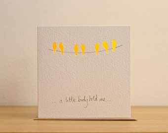 Little bird, birds on phone line, Thank you, happy birthday, thinking of you, cut card
