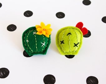 Felted round cactus brooches