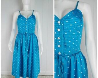 Vintage 1980s Blue and White Polka Dot Cotton Sundress | Size S/M, M
