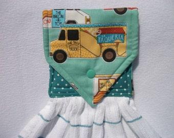 Food Trucks Hanging Hand Towel, Taco Truck Hanging Towel, Food Trucks Kitchen Hand Towel