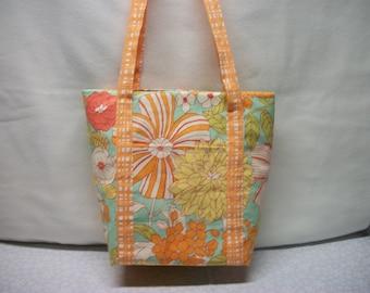 Tote Bag - Orange Floral - ON SALE  !!