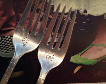 Wedding  Fork Set with Date Stamped  Handles