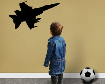 Fighter Jet Wall Decal - Boys Room Plane Wall Decal - Jet Decal - Jet Sticker - Plane Decal - Boys Room Wall Decal - Plane Sticker 15x8