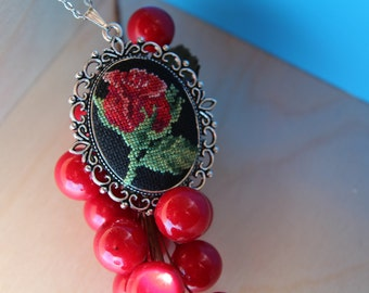 Cross stitch Necklace/Handmade Embroidered Jewelry/Gift For Her/Textile Pendant/Jewelry Cross Stitch/Faction Accessories/Rose