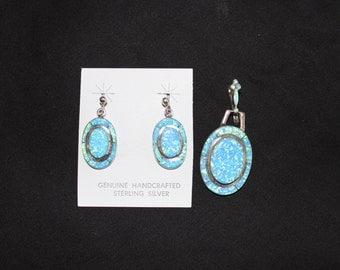 Sterling Silver & Blue Opal Earrings with Matching Pendant