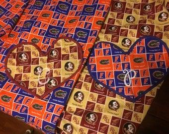 Sport team, house divided, rivalry blankets/throw set Gator Seminole University of Florida Florida State University