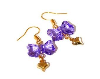 Purple Heart and Bow Hook Earrings