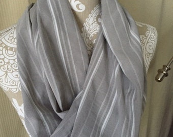 Twisted Infinity scarf - gray stripes