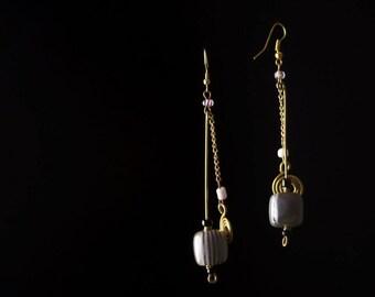 Grey Bead and Dangle Chain Earrings
